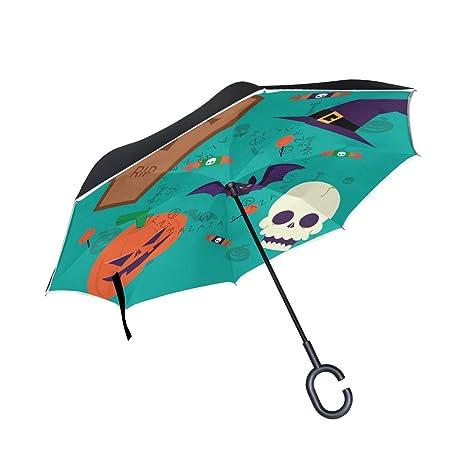 COOSUN Capa exquisita de Halloween Elementos doble del paraguas invertido inversa para el coche y el