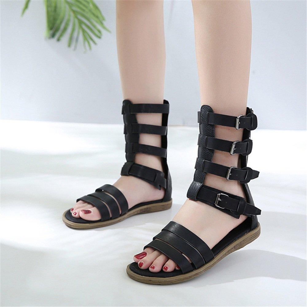 Einfache Einfache Einfache und Bequeme Leichte Damen Flache Sandalen Römische Schuhe (Farbe : Schwarz, Größe : 36) Schwarz ed5be9