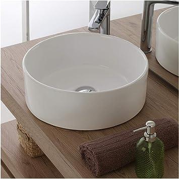 Lavandino Bagno Profondo 40 Cm.Inbagno Lavandino Bagno D Appoggio Tondo In Ceramica Diametro 40 Cm Bianco Lucido Amazon It Casa E Cucina