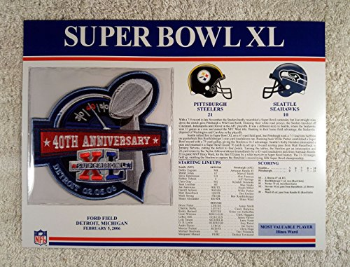 Super Bowl XL (2006) - Official NFL Super Bowl Patch with complete Statistics Card - Pittsburgh Steelers vs Seattle Seahawks - Hines Ward - Mvp Super Bowl 21
