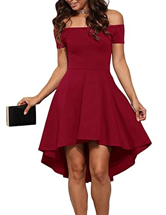 459104b2890 Aolakeke Women Casual Off Shoulder Formal Party Cocktail Dress With Short  Sleeves