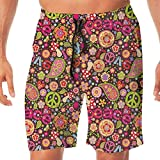 Haixia Men's Fahsion Board Short 70s Party Decorations Groovy Peace and Love Co