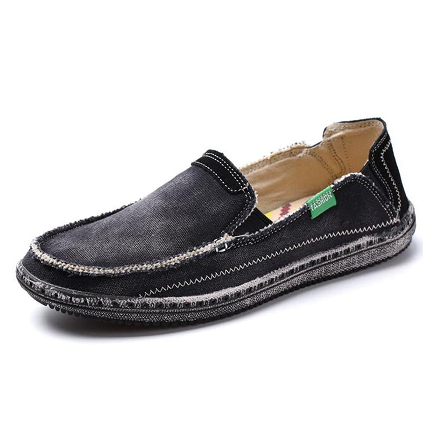 Sandalen Mens Canvas Breathable Bequeme Slip-on Sommer Mode Bettler Stil Freizeitschuhe,Black,42
