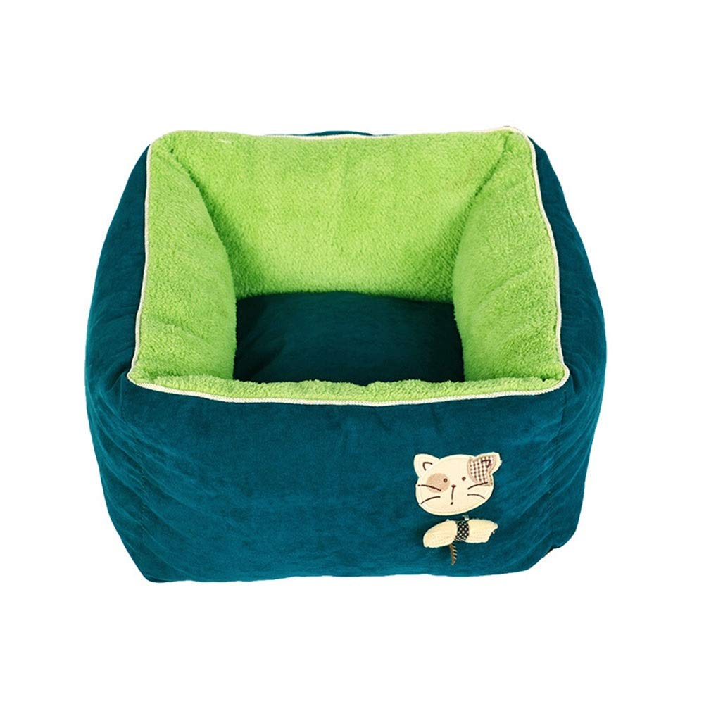 Green WEAO Washable Cat Nest Kitten House Pet Bed Small Dog Puppies Kennel Mat Pet Supplies, PP Cotton Material, 2 colors (color   Green)