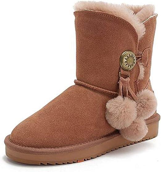 Pelota de Pelo Botas de Nieve cálidas Botines Zapatos de Mujer ...