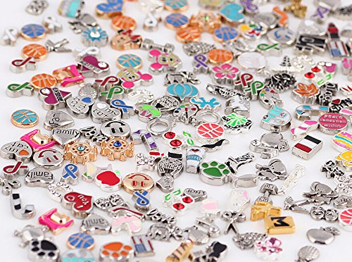 Origami Owl Halloween Locket (Miraclekoo 100 Pcs Floating Charms Assorted Mix DIY for Floating Lockets Glass Living Memory)