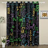 My Little Nest Multicolored Math Formulas Pattern Blackout Window Curtains Grommet Top Thermal Insulated Room Darkening Drape for Bedroom Living Room 55W x 84L Inch, 2 Panels