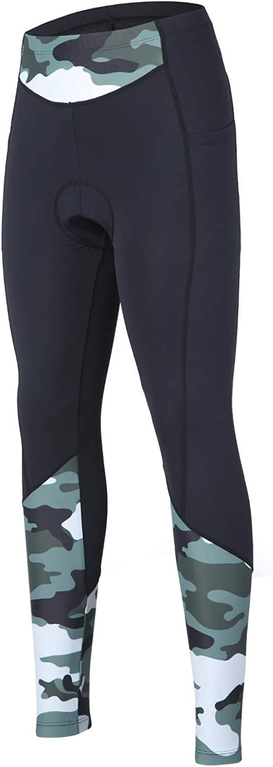 beroy Women 3D Padded Cycling Pants with Adjust Drawstring,Ladies Compression Tights Bike Pants(S Camo)