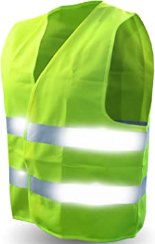 Perfect Fitness Perfect 360 Vest LED Safety Light Neon Florescent Yellow Green