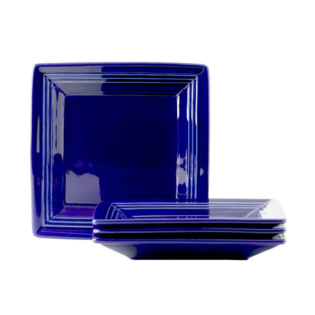 Tuxton Home Concentrix Square Plate (Set of 4), 8 1/2'', Cobalt Blue; Heavy Duty; Chip Resistant; Lead and Cadmium Free; Freezer to Oven Safe up to 500F