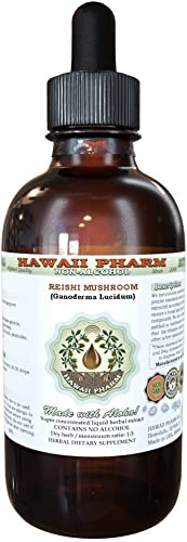 Reishi Alcohol-Free Liquid Extract – Tonic of Emperors, Organic Reishi Mushroom Ganoderma Lucidum Dried Mushroom Glycerite Natural Herbal Supplement, Hawaii Pharm, USA 2 fl.oz