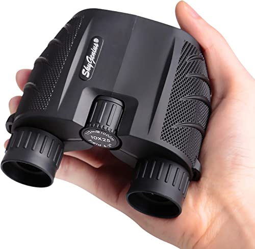 SkyGenius 10×25 Compact Binoculars for Adults, High Powered Binoculars Pocket for Concerts, Theater, Travel, BK4 Roof Prism FMC Lens Kid Binoculars for Bird Watching 0.53lb