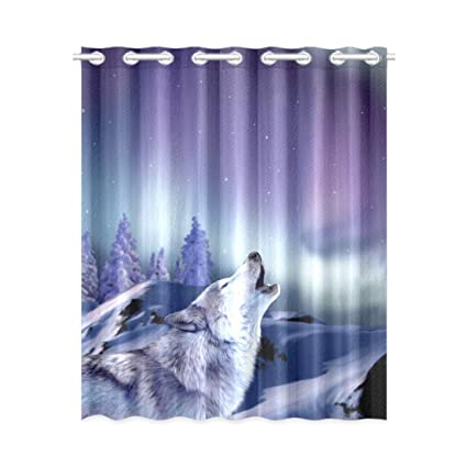 cool window curtains real blackout window curtains cool wolf howling room bedroom kitchen home living solid grommet drapes amazoncom