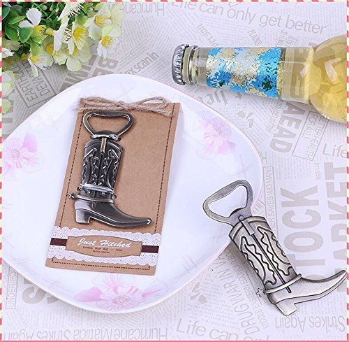 Cola Bottle Opener - Youkwer 12 PCS Unique Skeleton Cowboy Boots Shaped Bottle Opener with Escort Tag Card for Wedding Party Favors Gift & Decorations (Cowboy Boots,Bronze)