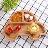 Wispun Wooden cartoon tray - Natural Beech Wood Plate Dinner Dishes for Children Kids Toddler (Cartoon car)