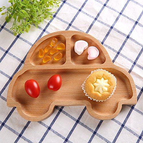 Wispun Wooden cartoon tray - Natural Beech Wood Plate Dinner Dishes for Children Kids Toddler (Cartoon car) by Wispun (Image #4)