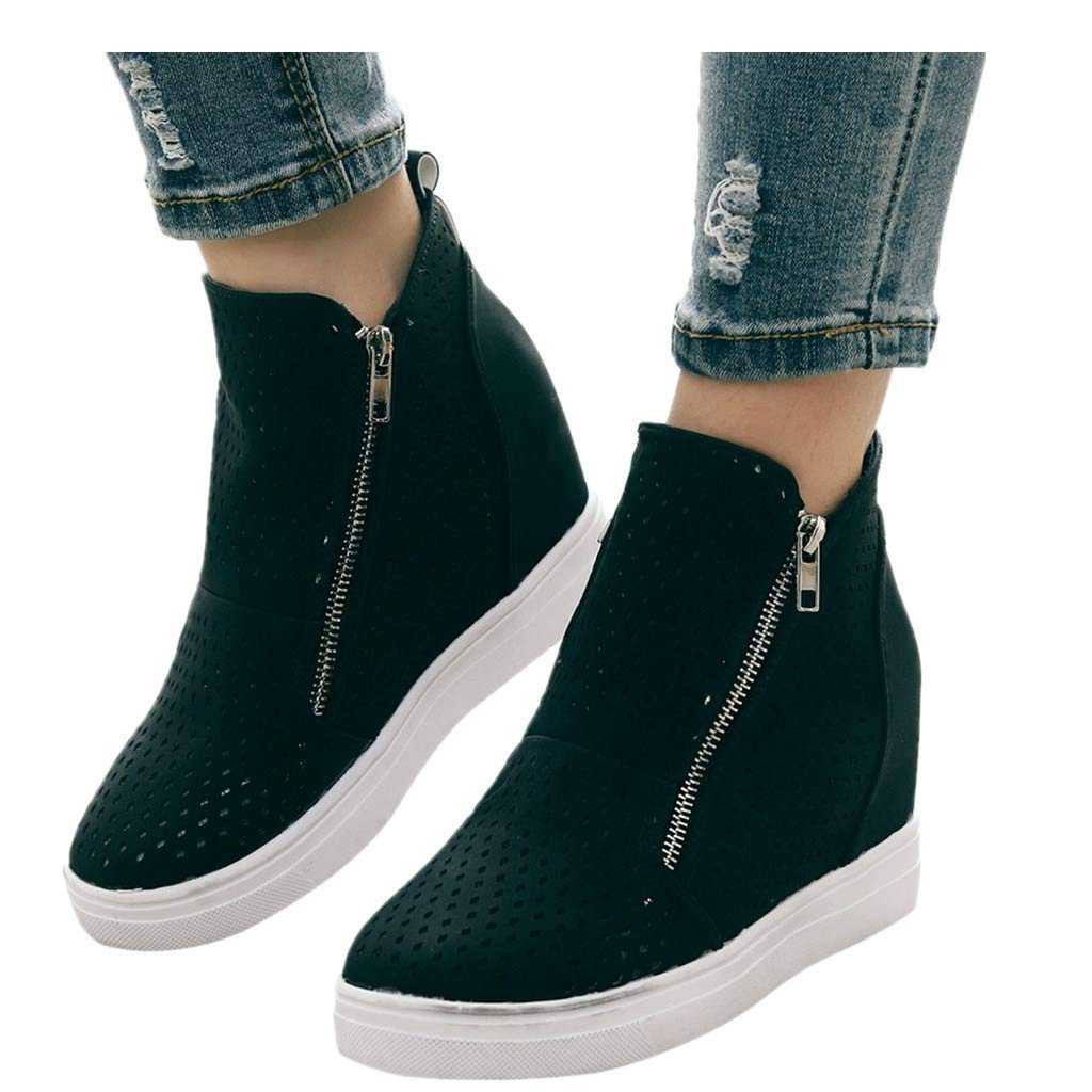 Cenglings Women Round Toe Hollow Out Increase Height Zipper Ankle Boots Flat Wedges Shoes High Heel Office Work Shoes
