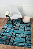 """SUMMIT BY WHITE MOUNTAIN Summit 0J-DUTV-TJIK 41 New Turquoise Geometric Rug Modern Abstract Many Sizes Available (3′.8"""" X 5), 3′.8"""" X 5′ Area Rug Review"""