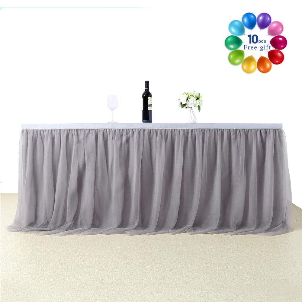 B-COOL 6 Yards Tulle Table Skirt Gray Soft Tablewear Uniquely Table Decoration Perfect for Dinner Parties Picnic Kitchen(L18(ft) H 30in)
