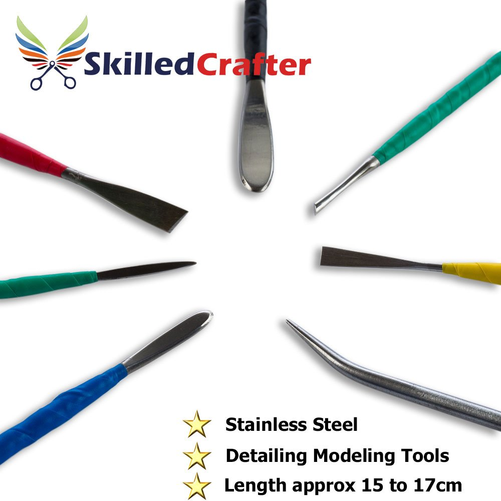 Skilled Crafter Clay Sculpting Tools. 42 Piece Set for Modeling & Detailing, and Ideal for Work on a Potters Wheel. Includes Free Sponge & Needle Tool by Skilled Crafter (Image #9)