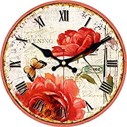 ShuaXin 12 Flower and Butterfly Style Roman Numeral Design Sweet House Decor Wooden Wall Clocks Decorative Wall Clock Wall Art Gift (Flower-01)