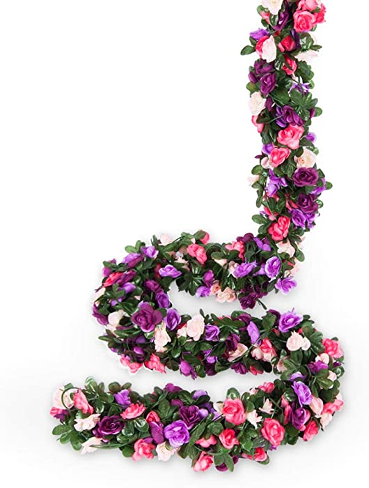 Miracliy 8 pcs 66 FT Flower Garland Fake Rose Vine Artificial Flower Hanging Rose Ivy Home Hotel Office Wedding Party Garden Craft Art Décor (Pink+Purple)