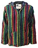 No Bad Days Baja Hoodie Zippered Mexican Poncho - RASTA Multi Color & Pattern (Medium)