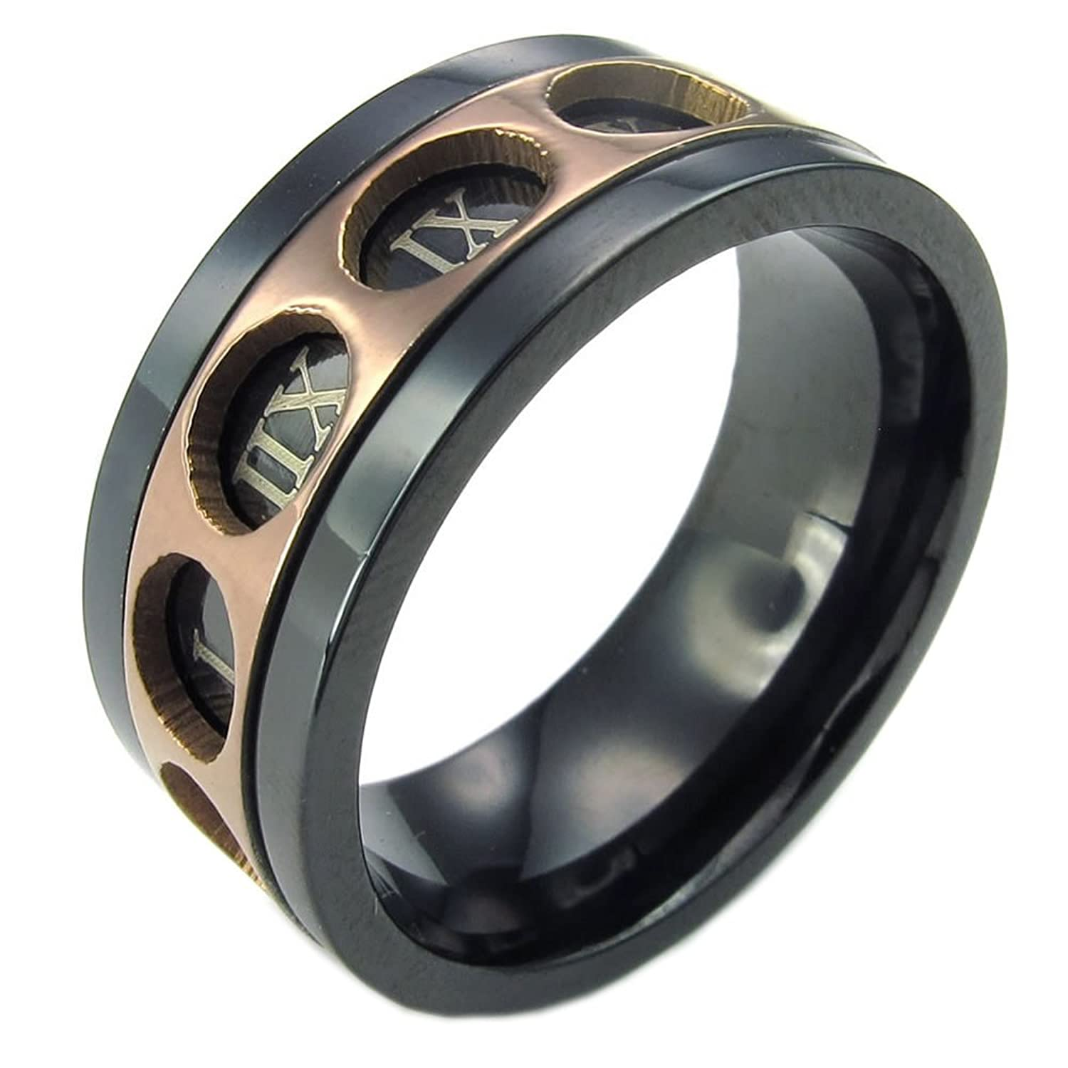 KONOV Mens Stainless Steel Ring Spinner Roman Numeral Band Black