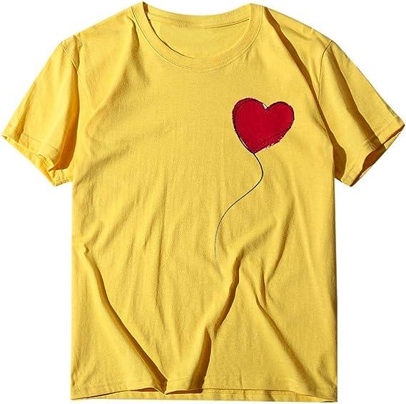 Berimaterry Damen T-Shirt Mode Herz Drucken Kurzarm Oberteile M/ädchen Elegant Print Shirts Top Casual Rundhals Lose Tshirt Sommershirt Basic Tunika Bluse