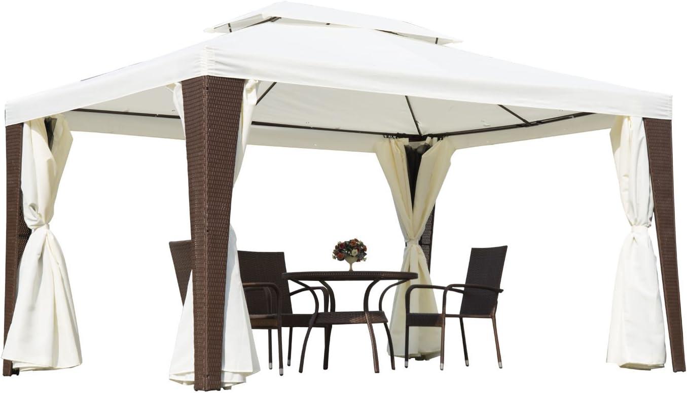 Pabellón Outsunny® de poliratán, 3 x 4 m, cenador de jardín, carpa ...