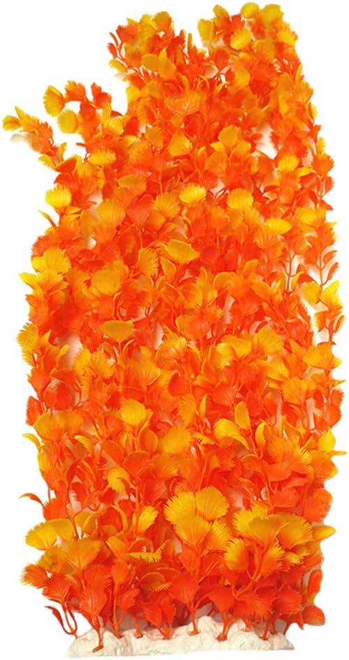 Lantian Orange Chicken Feather Grass Aquarium Décor Plastic Plants Extra Large 21 Inches Tall