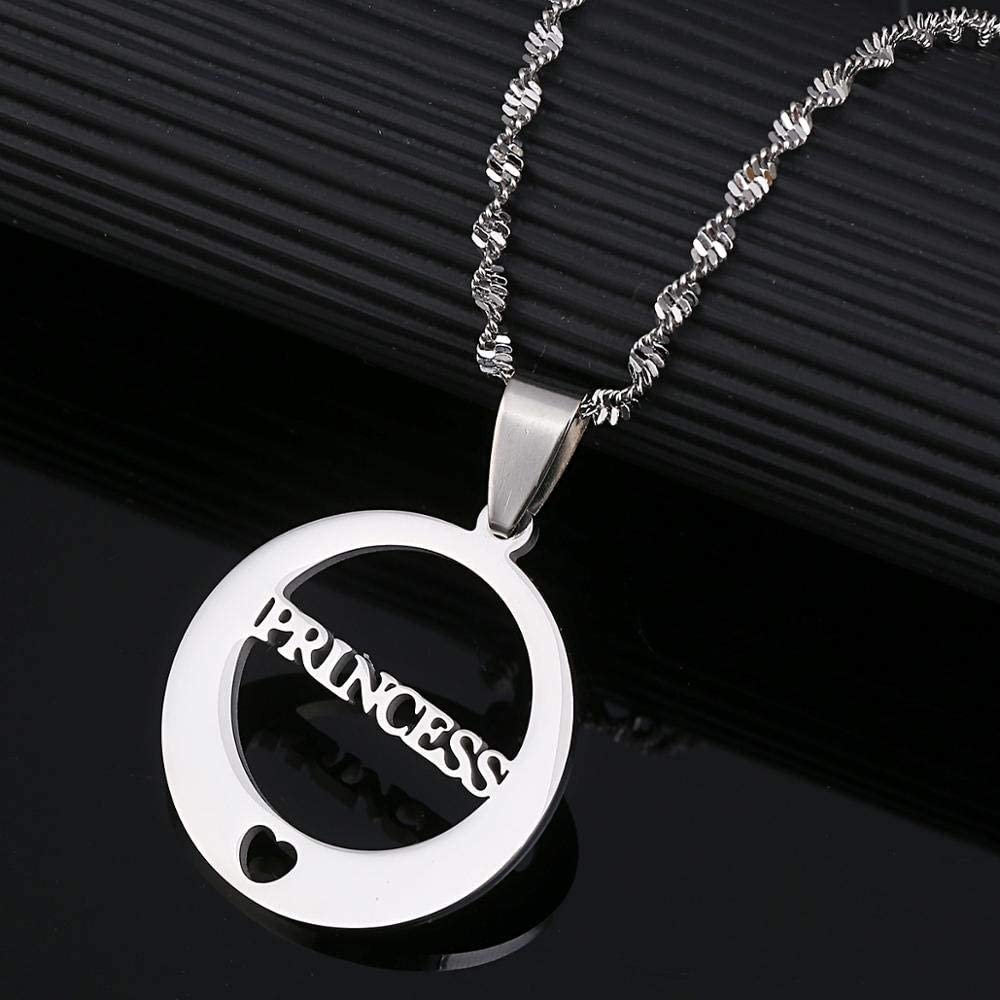 Stainless Steel Princess Letter Heart Pendant Necklaces For Valentine Trendy Round Chain Jewelry