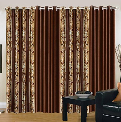 Galaxy Home Decor Beautiful Polyester Curtains for Window 5 Feet, Pack of 4, Brown (Brown, Window 5 Feet)