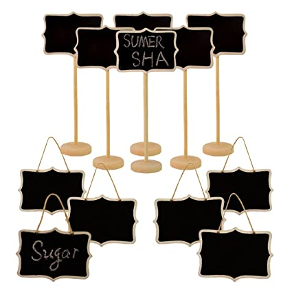 Blackboard Mini Chalkboard Place Cards 5pcs Hanging Blackboard Double Sided Chalkboard Wedding Party Table Number Place Tag Rectangular Office & School Supplies