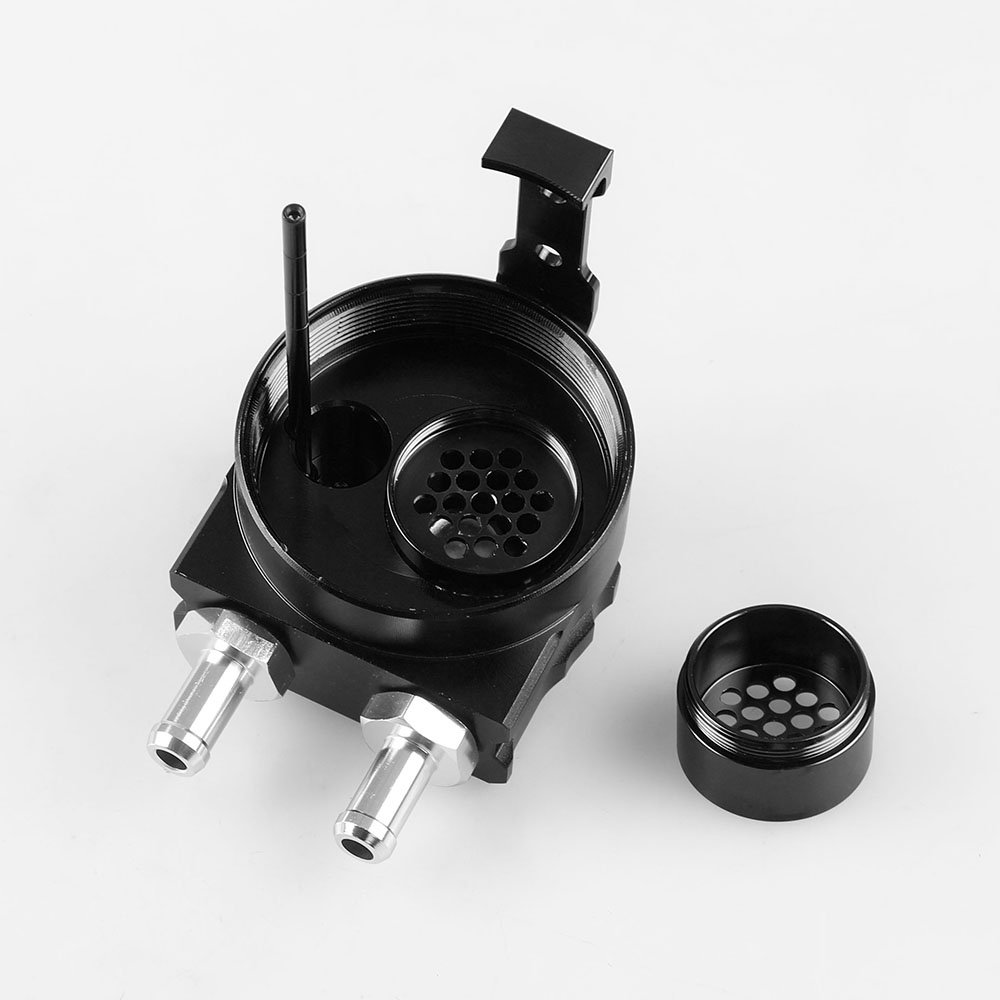 Anngo Universal 3//8/&9//16 400ml Aluminum Oil Catch Can Dual Cylinder Polish Baffled Engine Air Oil Separator Tank Reservoir Kit Breather Black Small Drain Blue