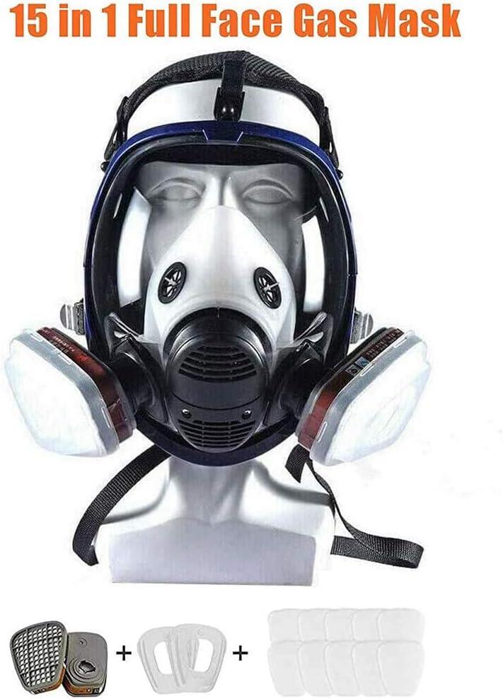 Máscara De Gas Filtro Autocebante Máscara Antigás Cubierta De Cara Completa Equipo De Protección con Visión Salvaje para Gases Orgánicos Y Vapor Benzofenona Disulfuro De Carbono