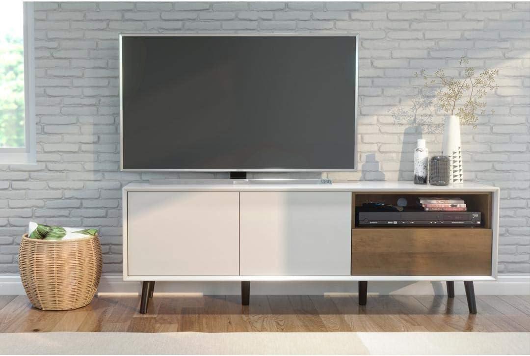 Bestar Alga TV Stand, White & Walnut Brown