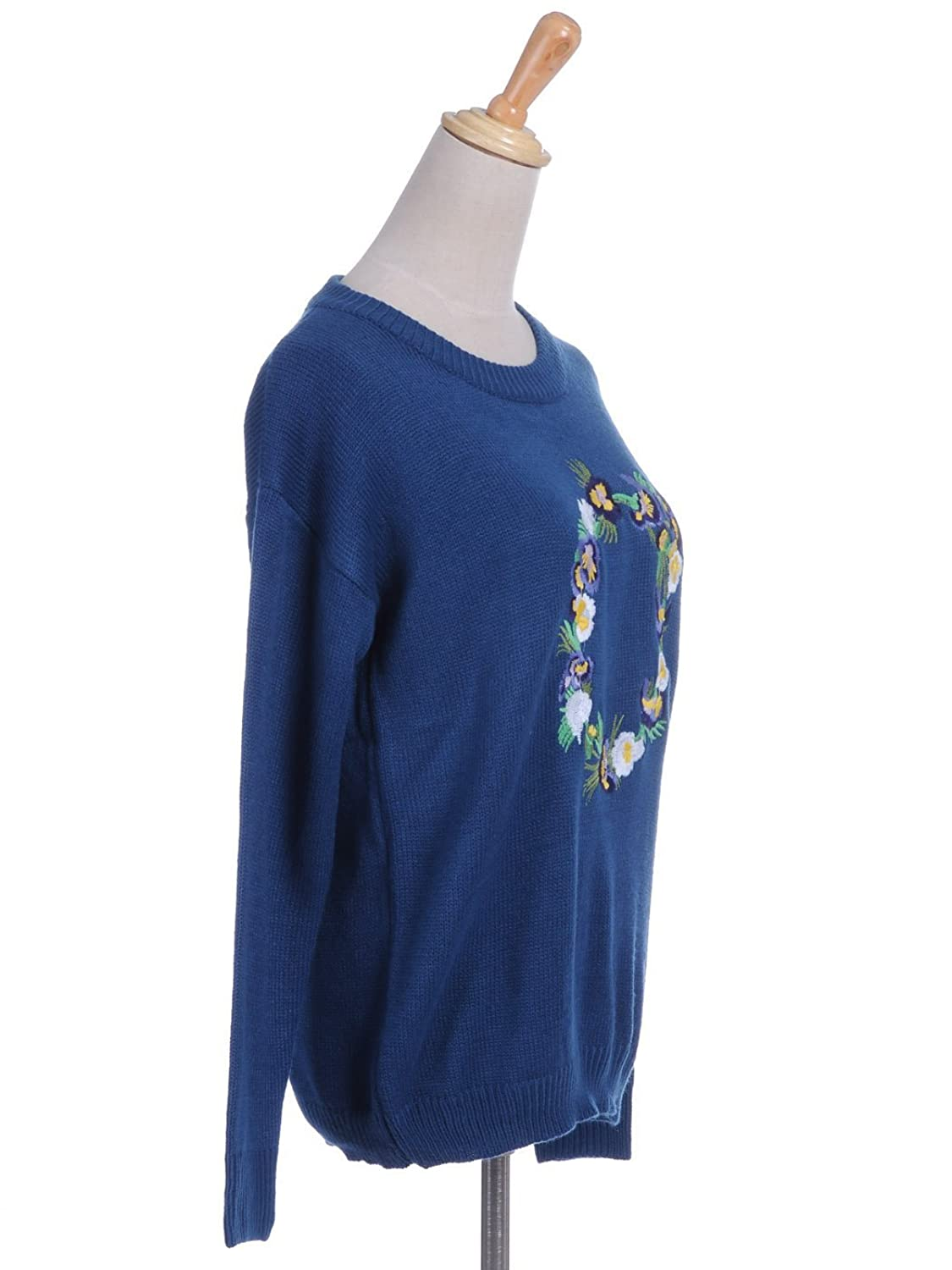 Anna-Kaci S/M Fit Blue Thin Waffle Knit Multicoloured Floral Wreath Sweater