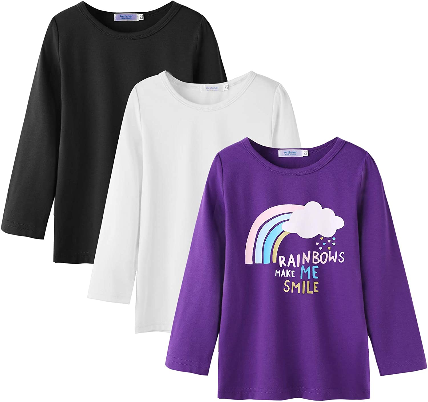 MISS POPULAR 5-Pack Girls Kids Long Sleeve T Shirt with Tie Front Cotton Crew Neck Soft Fabric Many Colors Size 4-16
