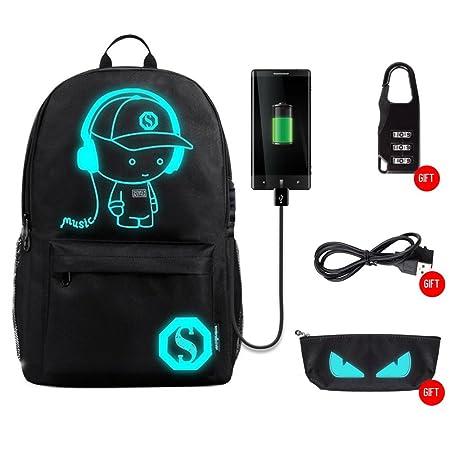 Sanwo Black Anime Luminous Backpack with USB Charging Port, Unisex Fashion Backpack