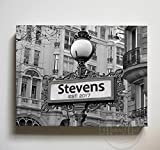 Personalized Family Name & Established Date Street Sign - Canvas Housewarming Wall Decor - Memorable Anniversary Gifts For Living Room & Bedrooms - Choose From Designer Colors & Sizes - Size-12x10