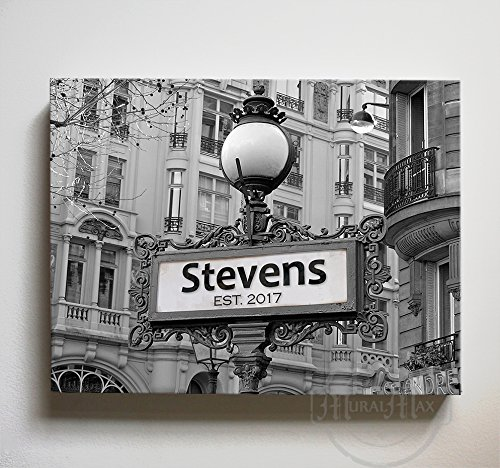 MuralMax Personalized City Street Sign - Custom Anniversary Date & Family Names Canvas Wall Decor - Art Gifts For Couples, Retirement & Office Parties - Color - Black & White - Size-12x10