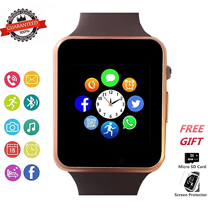 Smartwatch, Bluetooth Smart Watch Phone Wristwatch with Pedometer Camera SMS SNS Sync Music Player SIM Card Slot Compatible for Android and iPhone ...