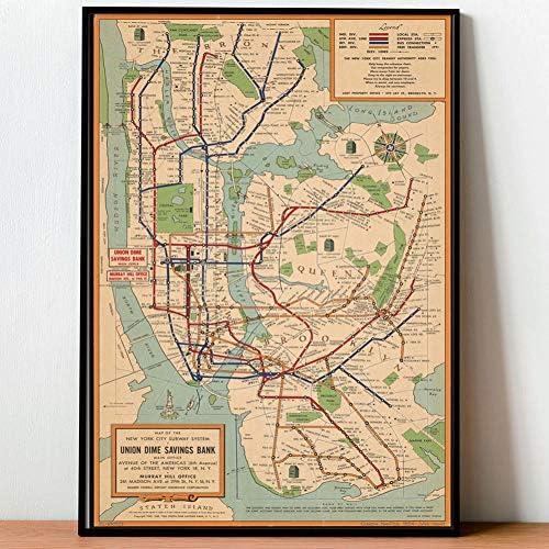 GUDOJK Pintura Decorativa Imagen Cartel Arte de la Pared Mapas del Metro Pintura de la Lona Carteles de la Ciudad Impresiones Estilo Imágenes de la Pared para la Sala de estar-70x100cm: Amazon.es:
