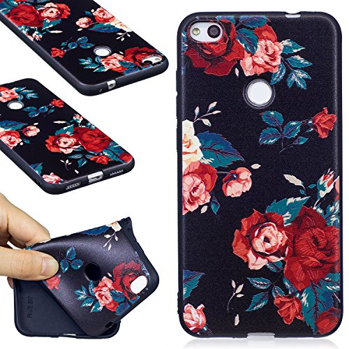 Huawei P8 Lite (2017) Case, FIREFISH Slim Soft TPU Gel Case Shock-Absorption Scratch-Resistant Embossed Printing Cover Case for Huawei P8 Lite (2017) -Flower