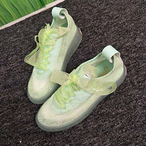 TYERY Zapatos de Mujer de Encaje Cara Transpirable Gelatina Inferior de Fondo Gruesos Zapatos de Hadas Zapatos Casuales Mujeres, Azul claro, 38