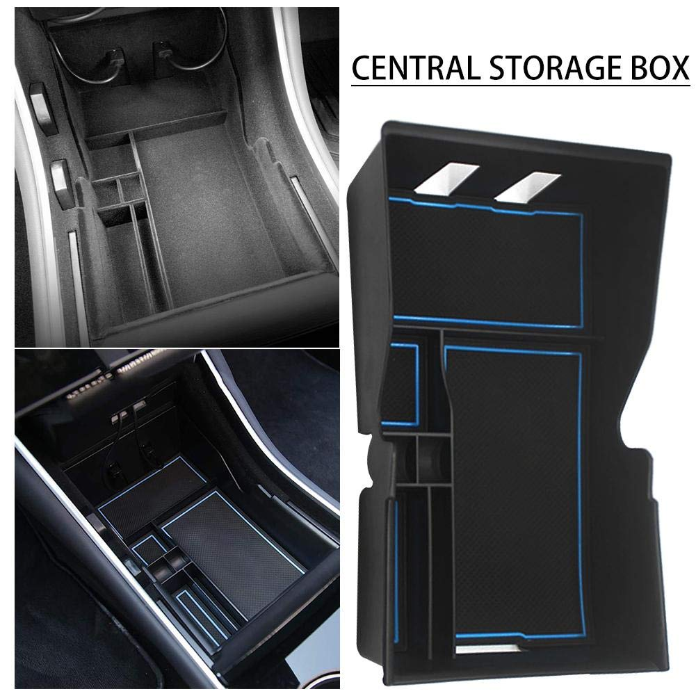 LIJUMN Car Center Console Organizer Insert ABS Black Materials Tray Armrest Box Secondary Storage For Tesla Model 3 Car Accessories