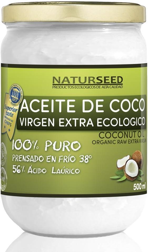 Naturseed - Aceite de coco Virgen Extra Orgánico - Para uso Estético, en Cocina y Masajes, 500 ml