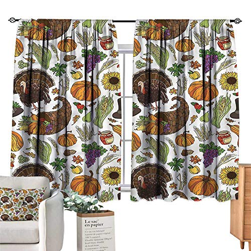 (WinfreyDecor Thanksgiving Insulated Sunshade Curtain Pilgrims Hat Turkey for Living, Dining, Bedroom (Pair) 55