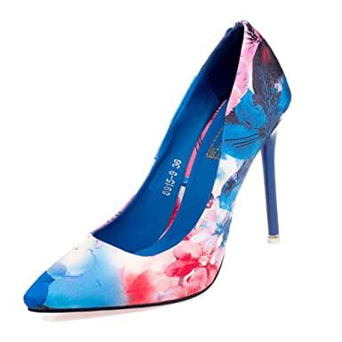 Ladies Pumps Tip Shallow OL Women's Shoes Floral On